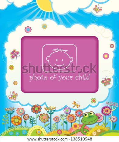 Frame for baby photo. Spring in the year of the Snake. raster version - stock photo