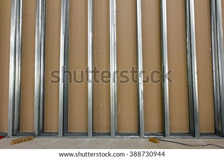 Frame for plasterboard. Gypsum wall is under construction. - stock photo