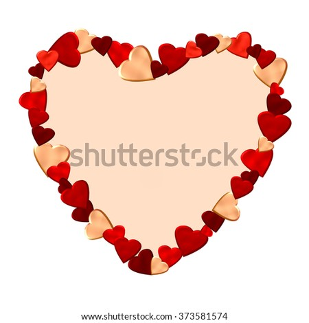 frame for text or photo in a form of a heart made of small colorful hearts - stock photo