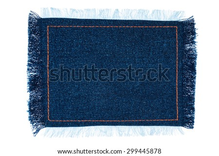 Frame for the text from a blue jeans fabric with the stitched lines of an orange thread, isolated on white background