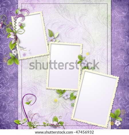 Frame for three photos with artificial colorful flowers