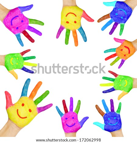 Frame formed from human hands painted in colorful paint with smiles.  Isolated on white background - stock photo