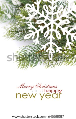 Frame from christmas branch over white with sample text - stock photo