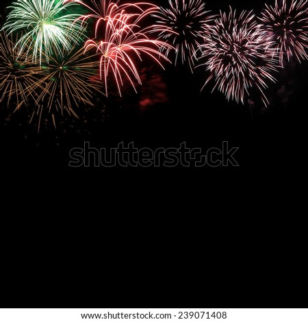 Frame from colorful holiday fireworks with space for your text, for design - stock photo
