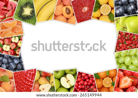 Frame from fruits like apple, orange, lemon, banana and strawberry with copyspace - stock photo