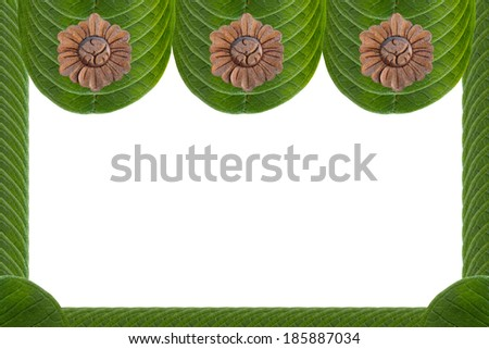 Frame from leaves - stock photo