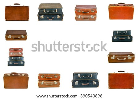 Frame from old suitcases. Collage of retro travel suitcases isolated on white. Set of old suitcases. Brown and black retro suitcase. Vintage baggage. Vintage travel bags. - stock photo
