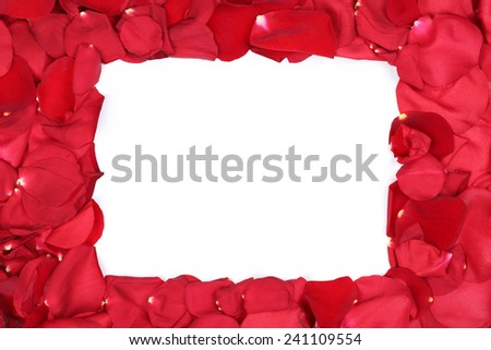 Frame from petals of red roses flowers on Valentine's and mothers day with copyspace - stock photo