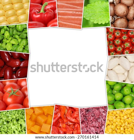 Frame from vegetables like tomatoes, paprika, lettuce, potatoes, mushrooms, herbs, beans and cucumber with copyspace - stock photo