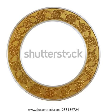 Frame golden circle on isolated white background. - stock photo
