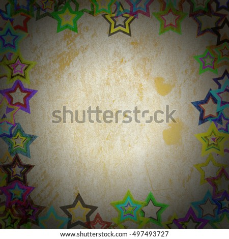 frame grunge stars on the wall, abstract background