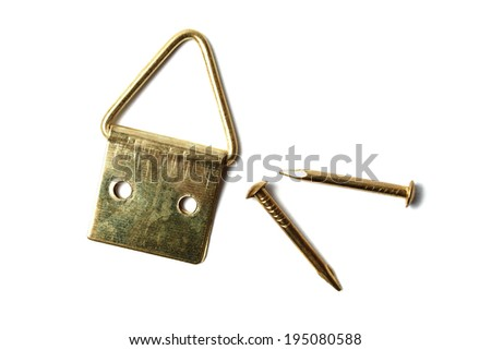 Frame hanging hook and nails isolated on white background - stock photo