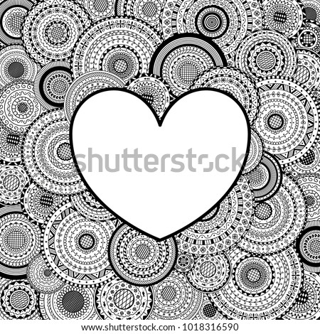 Frame In Heart Shape On Mandalas Background Coloring Page Book For Adult
