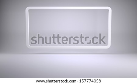 Frame in studio. 3d render of a gray background - stock photo