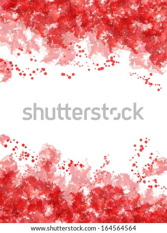 Frame made by red watercolor with blobs - stock photo