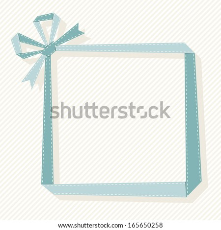 Frame made from blue paper ribbon with bow. Origami modern simple light background with text box for presentation. Original greeting, invitation cute card for print, web. Decorative illustration  - stock photo