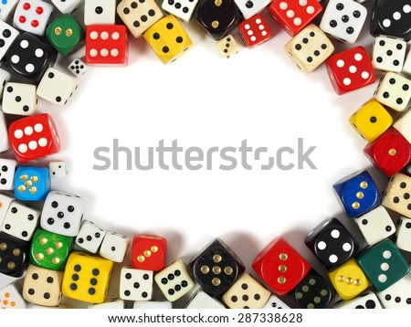 Frame made from dice with copy space inside - stock photo
