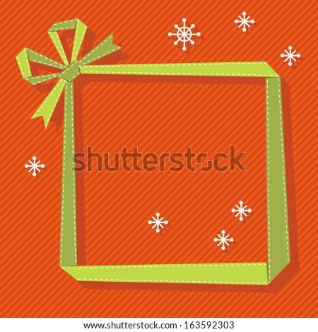 Frame made from green paper ribbon with bow. Original christmas greeting, invitation card in origami style. Simple decorative illustration for presentation with banner, snowflakes, text box