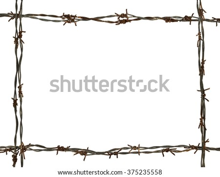 frame made of barbed wire on the white background - stock photo