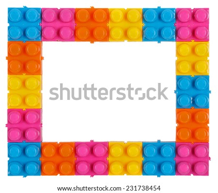 Frame made of colorful construction toy isolated on white background - stock photo