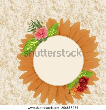 Frame made of flower petals with space for text - stock photo
