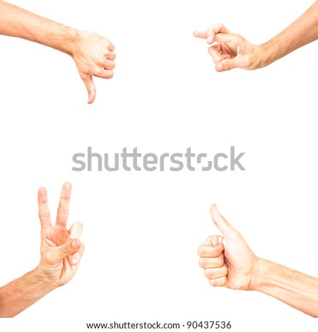 frame made of four hand with political or business signs ok no, positive, negative, voting, victory, all right, gesture, gesturing, sign, symbol, symbolic, fingers crossed isolated on white background - stock photo