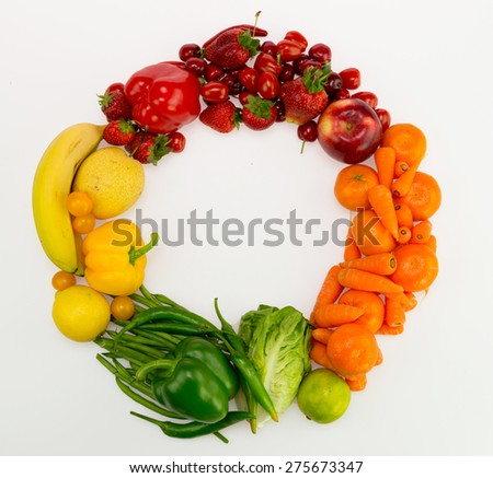 frame made of fruits and vegetables