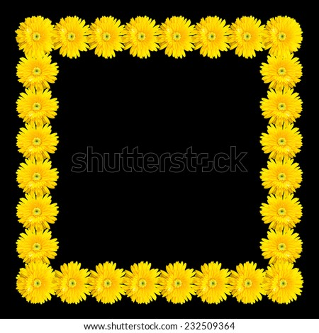 frame made of gerbera flower isolated on black background - stock photo