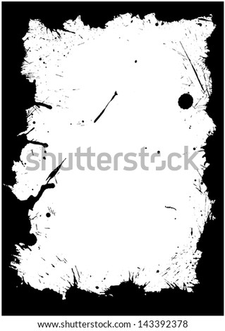 Frame made of ink blots and stains silhouettes - stock photo