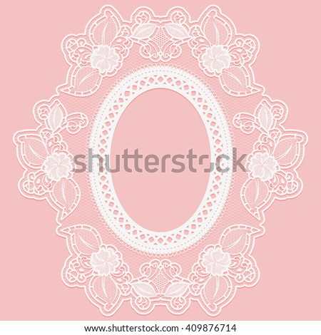 Frame made of openwork lace. White lace on a pink background. Rasterized version. - stock photo