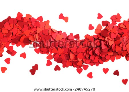 Frame made of paper hearts, isolated on white background, Valentines day concept - stock photo