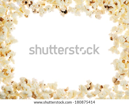 Frame made of popcorn over the white background