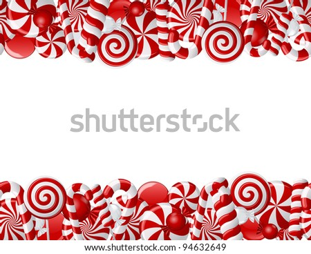 Frame made of red and white candies. Seamless pattern - stock photo
