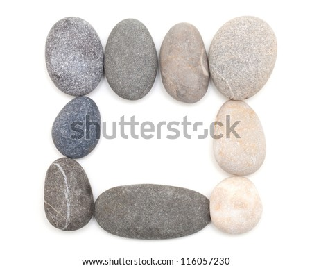frame made of sea stones isolated on white background - stock photo