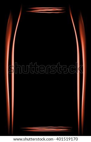 Frame made of smoke lines bright orange on a black background - stock photo