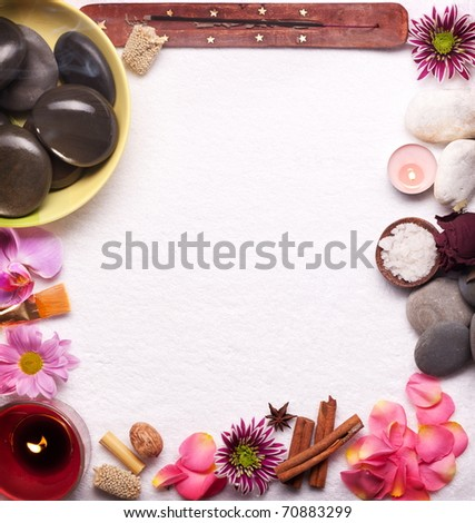 Frame made of spa accessories. - stock photo