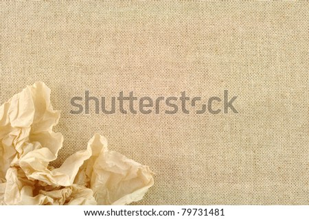 frame made of Tissue with a canvas of burlap - stock photo