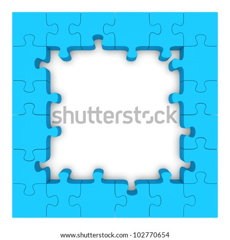 Frame made up of pieces of blue jigsaw puzzle. 3d rendered image