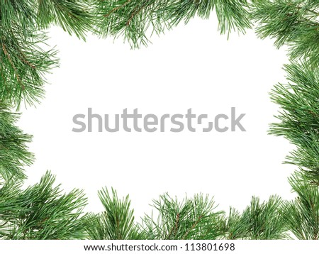 Frame made with pine twigs isolated on white, copyspaced - stock photo