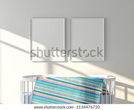 Frame Mockup On Wall Oval Crib Stock Illustration 1134476720 ...