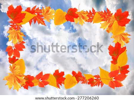 Frame of autumn leaves on sky background - stock photo