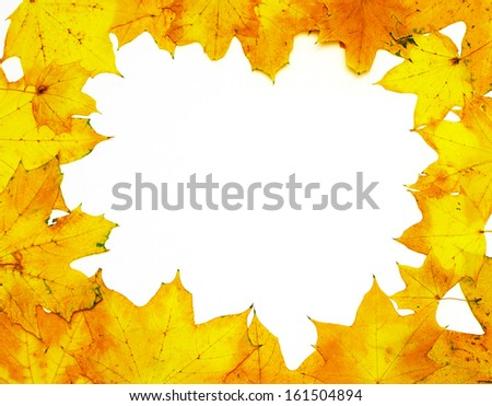 Frame of autumn yellow leaves