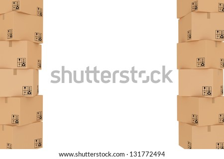 frame of cardboard boxes - stock photo