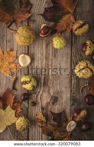 Frame of chestnuts  and leaves on the wooden background vertical with film filter effect