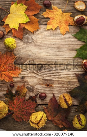 Frame of chestnuts and  maple leaves on the wooden background with film filter effect - stock photo
