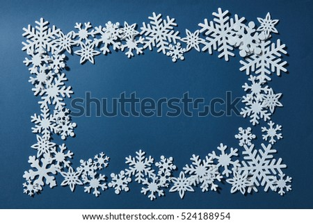 Frame of Christmas snowflakes