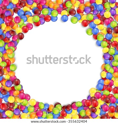 Frame of circle colored candies - stock photo