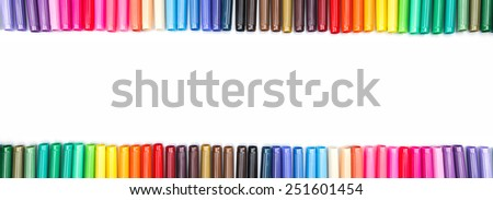 Frame of colored felt tip pens  isolated on white with place for text - stock photo