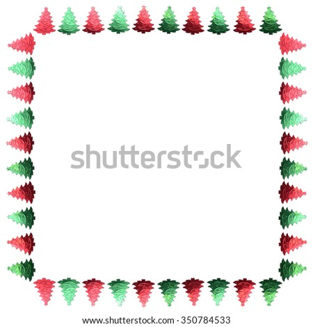 Frame of confetti. Green and red frame. Christmas tree. Border. Scenery.