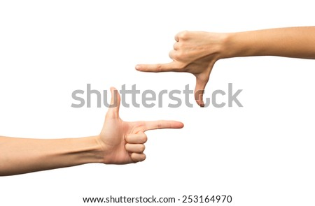 Frame of fingers. Photo sign made by human hands on white background. Alpha.